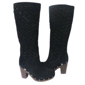 Ugg Tall Arroyo Basketweave Leather Clog Boots Sz6